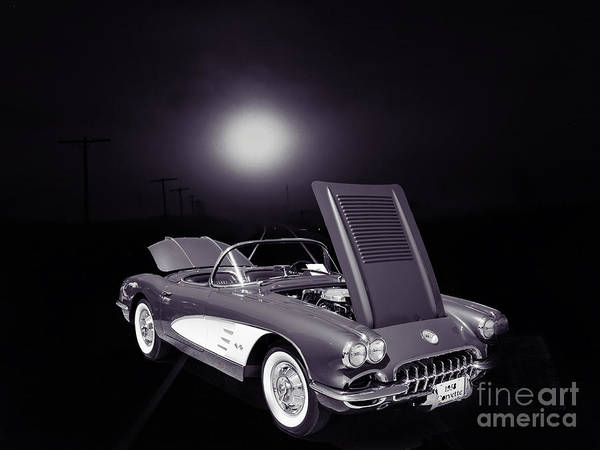 Photograph - 1958 Corvette By Chevrolet And A Train Sepia Photograph 3483.01 by M K Miller