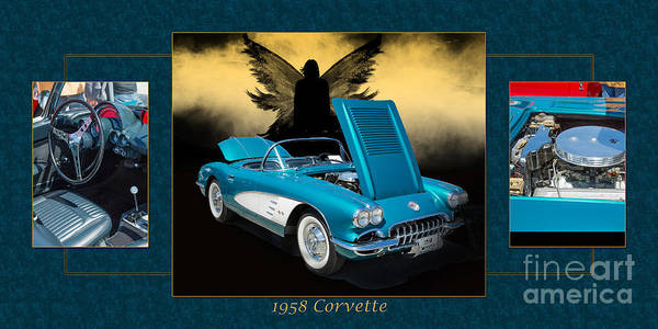 Photograph - 1958 Corvette By Chevrolet And Dark Angel Collage Photograph Pri by M K Miller
