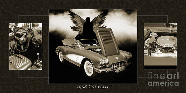 Photograph - 1958 Corvette By Chevrolet And Dark Angel Collage Sepia Print 35 by M K Miller