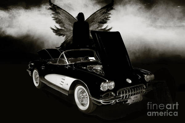 Photograph - 1958 Corvette By Chevrolet And Dark Angel Photograph Sepia Print by M K Miller