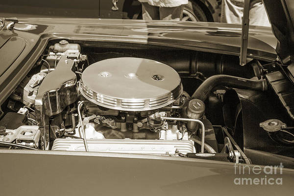 Photograph - 1958 Corvette By Chevrolet Engine And A Sepia Photograph 3487.01 by M K Miller