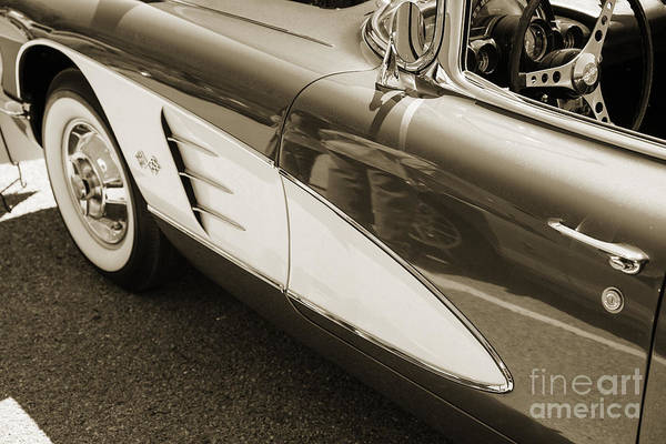Photograph - 1958 Corvette By Chevrolet Front Fender In A Sepia Photograph 34 by M K Miller