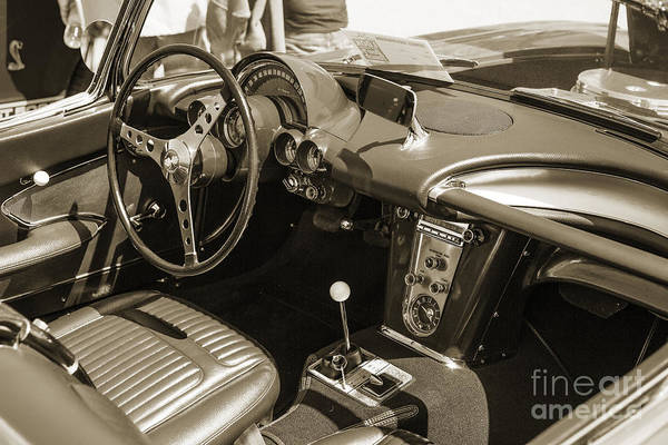 Photograph - 1958 Corvette By Chevrolet Interior In A Sepia Photograph 3489.0 by M K Miller