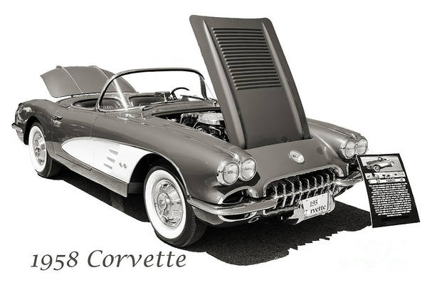 Photograph - 1958 Corvette By Chevrolet On White In A Sepia Photograph 3496.0 by M K Miller