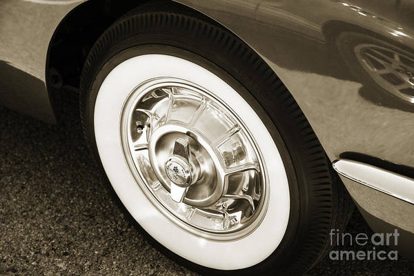 Photograph - 1958 Corvette By Chevrolet Wheel In A Sepia Photograph 3491.01 by M K Miller