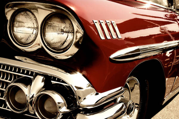 Photograph - 1958 Deep Red Chevy by David Patterson