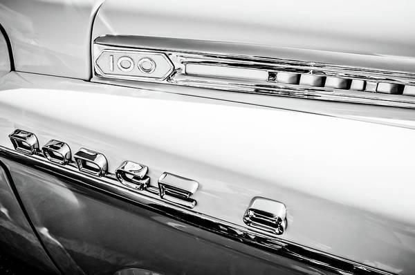 Wall Art - Photograph - 1958 Dodge Sweptside Truck Emblem -0039bw by Jill Reger