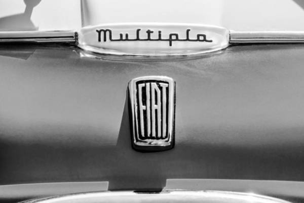 Photograph - 1958 Fiat Multipla Hood Emblems -1651bw by Jill Reger