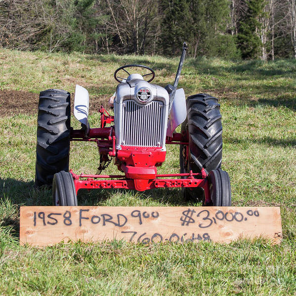 Photograph - 1958 Ford 900 Vintage Tractor For Sale Stowe, Vermont by Edward Fielding