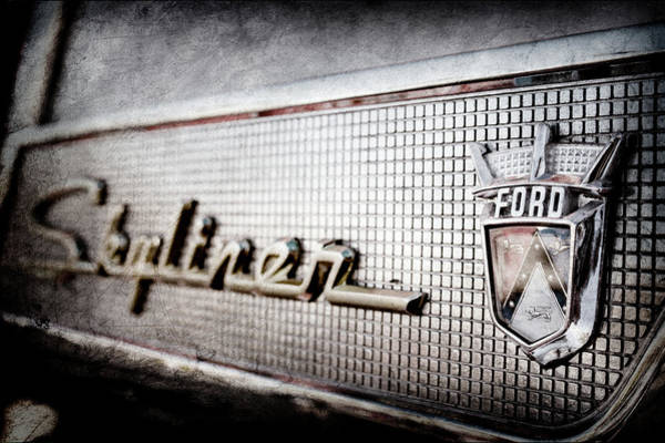 Wall Art - Photograph - 1958 Ford Fairlane Skyliner Hardtop Convertible Emblem -0437ac by Jill Reger
