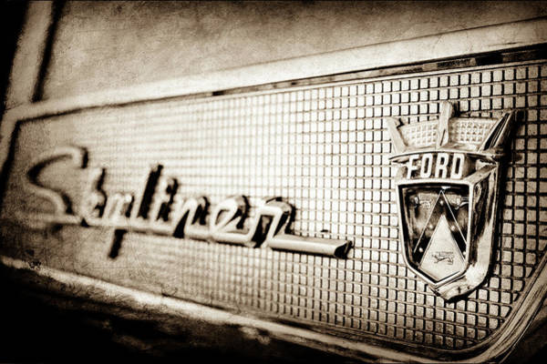 Wall Art - Photograph - 1958 Ford Fairlane Skyliner Hardtop Convertible Emblem -0437s by Jill Reger