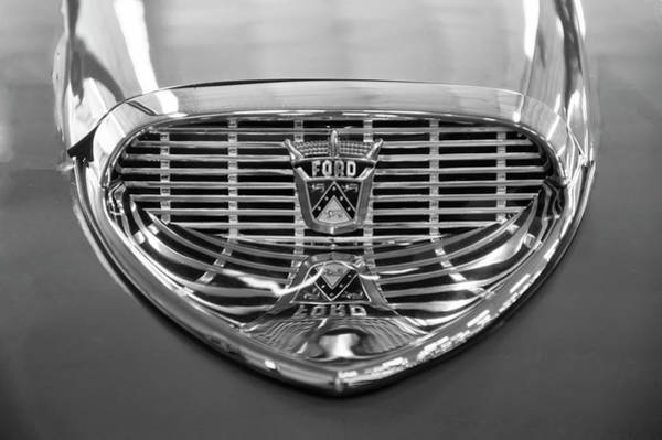 Digital Art - 1958 Ford Fairlane Sunliner Intake Bw by Chris Flees
