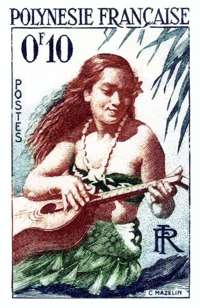 Polynesia Wall Art - Digital Art - 1958 French Polynesia Guitar Girl 10fr Postage Stamp by Retro Graphics
