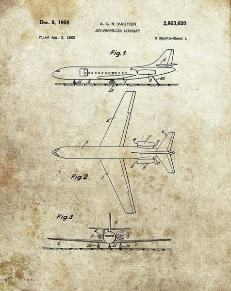 Vintage Airplane Drawing - 1958 Jet Airplane Patent by Dan Sproul