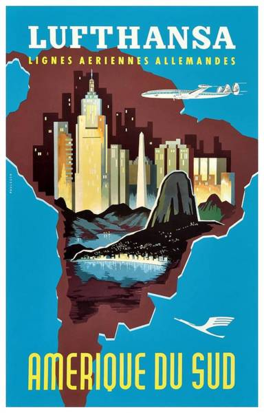 Wall Art - Digital Art - 1958 Lufthansa South America Travel Poster by Retro Graphics