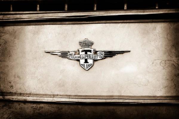 Wall Art - Photograph - 1958 Maserati 3500 Gt Berlinetta By Touring Emblem -0177s by Jill Reger
