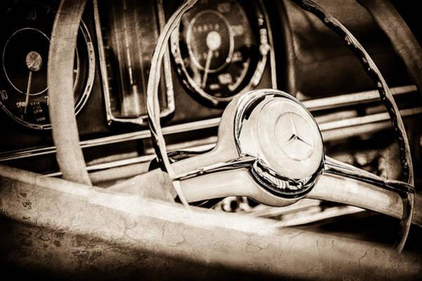 Wall Art - Photograph - 1958 Mercedes-benz 300sl Roadster Steering Wheel -1131s by Jill Reger