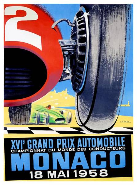 Wall Art - Digital Art - 1958 Monaco Grand Prix Automobile Race Poster by Retro Graphics