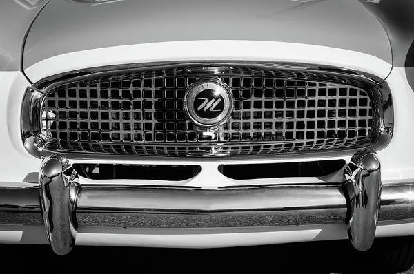 Wall Art - Photograph - 1958 Nash Metropolitan Hood Ornament -0218bw by Jill Reger