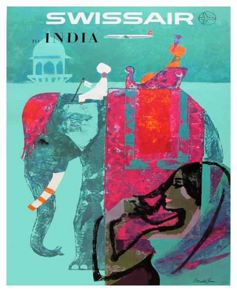 Wall Art - Digital Art - 1958 Swissair India Travel Poster by Retro Graphics