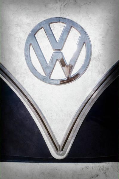 Wall Art - Photograph - 1958 Volkswagen Vw Bus Emblem -0274ac by Jill Reger