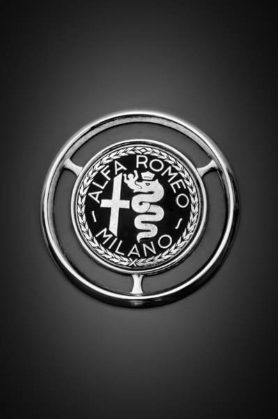 Photograph - 1959 Alfa Romeo Giulietta Sprint Emblem -0128bw1 by Jill Reger