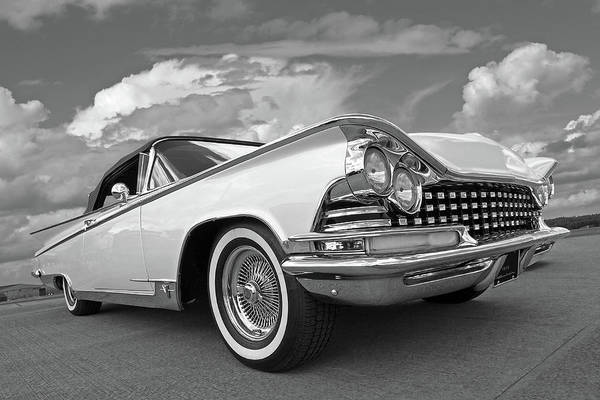 Photograph - 1959 Buick Convertible Black And White by Gill Billington