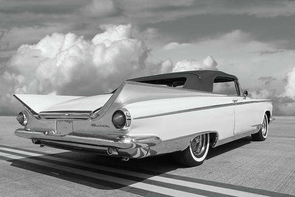 Invicta Photograph - 1959 Buick Convertible Rear In Black And White by Gill Billington