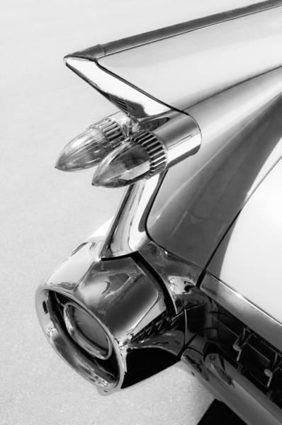 Photograph - 1959 Cadillac Eldorado 62 Series Taillight -213bw by Jill Reger