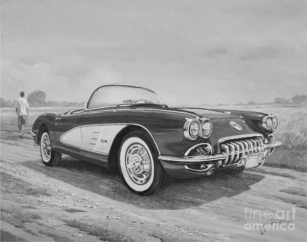 Painting - 1959 Chevrolet Corvette Cabriolet In Black And White by Sinisa Saratlic