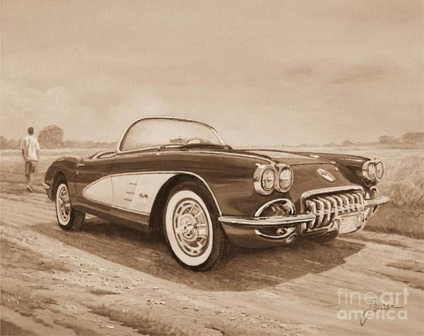 Painting - 1959 Chevrolet Corvette Cabriollet In Sepia by Sinisa Saratlic