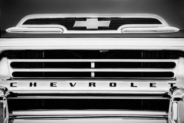 Photograph - 1959 Chevrolet Napco Fleetside Grille Emblem -1634bw by Jill Reger