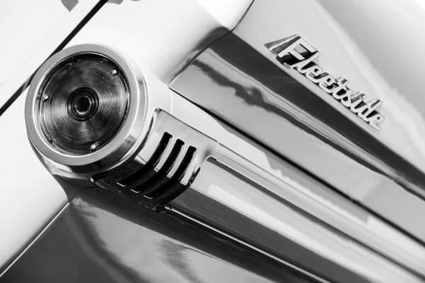 Photograph - 1959 Chevrolet Napco Fleetside Tail Light Emblem -1564bw by Jill Reger