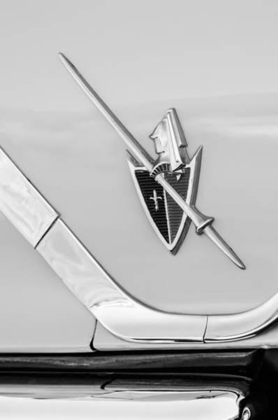 Wall Art - Photograph - 1959 Dodge Coronet Emblem -0885bw by Jill Reger