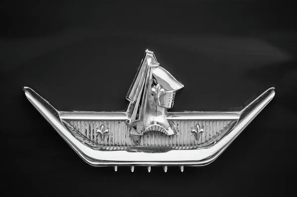 Wall Art - Photograph - 1959 Dodge Custom Royal Super D 500 Emblem -0230bw by Jill Reger