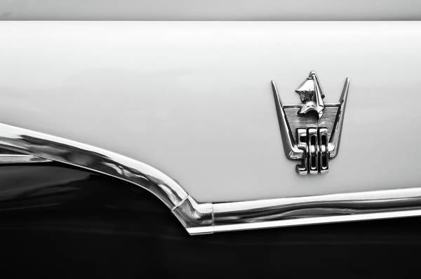 Wall Art - Photograph - 1959 Dodge Custom Royal Super D 500 Emblem -0245bw by Jill Reger