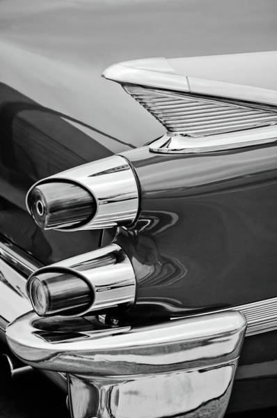 Wall Art - Photograph - 1959 Dodge Custom Royal Super D 500 Taillight -0233bw by Jill Reger