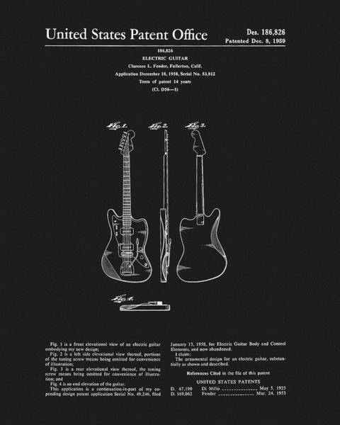 Drawing - 1959 Fender Guitar Patent by Dan Sproul