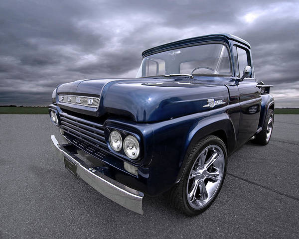 Photograph - 1959 Ford F100 Dark Blue Pickup by Gill Billington