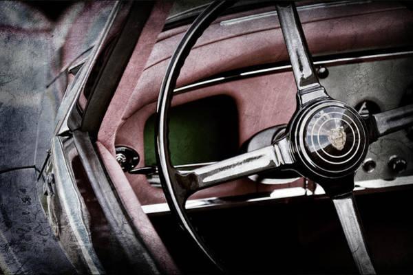Wall Art - Photograph - 1959 Jaguar Xk150s Ots Steering Wheel Emblem -1813ac by Jill Reger