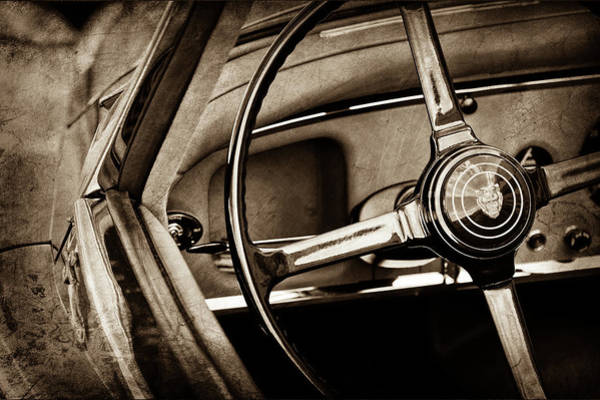 Wall Art - Photograph - 1959 Jaguar Xk150s Ots Steering Wheel Emblem -1813s by Jill Reger