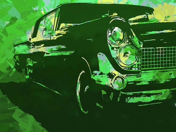 Digital Art - 1959 Lincoln Continental Green Pop by David King