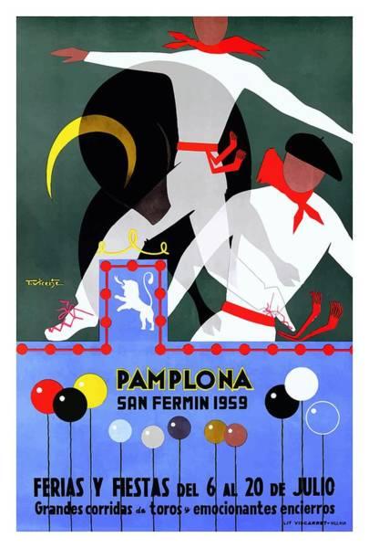 Running Digital Art - 1959 Pamplona San Fermin Festival Poster by Retro Graphics