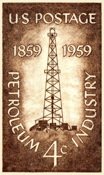 Oil Industry Painting - 1959 Petroleum Industry Centennial Stamp by Historic Image