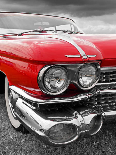 Photograph - 1959 Red Cadillac Headlights by Gill Billington
