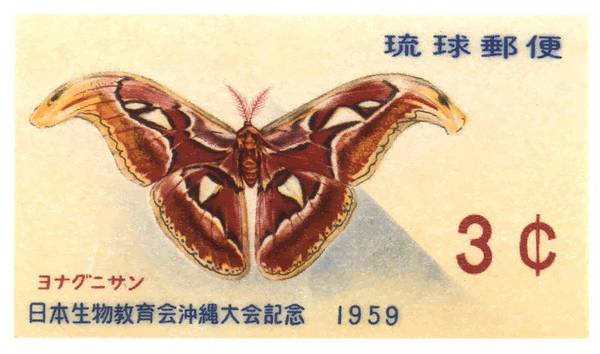 Wall Art - Digital Art - 1959 Ryukyu Islands Atlas Moth Postage Stamp by Retro Graphics