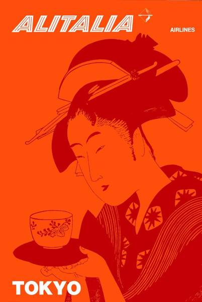 Wall Art - Digital Art - 1960 Alitalia Tokyo Geisha Travel Poster by Retro Graphics