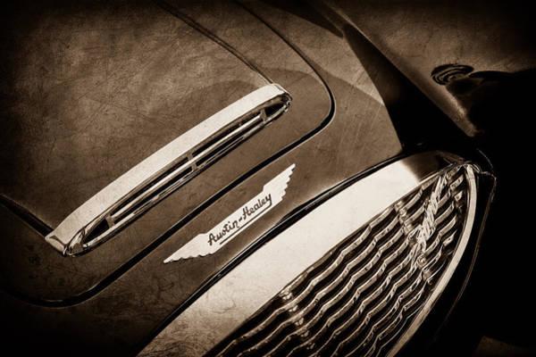 Healey Photograph - 1960 Austin-healey 3000 Mki Bn7 Grille Emblem -0660s by Jill Reger