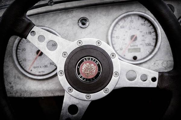 Healey Photograph - 1960 Austin-healey -bugeye ' Sprite Mk I Steering Wheel Emblem -1155ac by Jill Reger