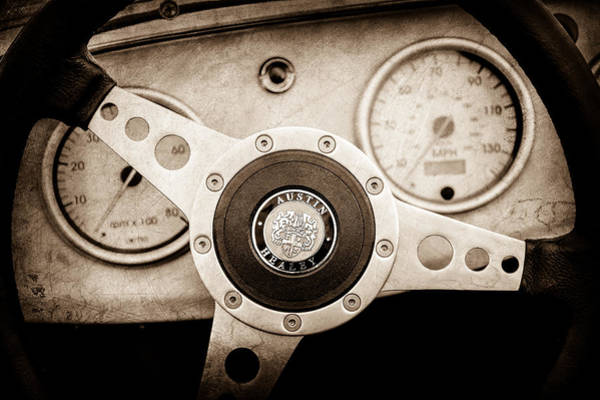 Healey Photograph - 1960 Austin-healey -bugeye ' Sprite Mk I Steering Wheel Emblem -1155s by Jill Reger